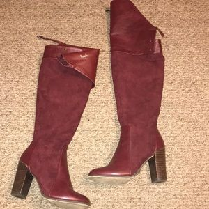Burgundy colored Over the Knee boots